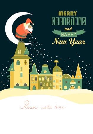 サンタ クロースはクリスマス ベクトル グリーティング カード夜間都市景観広がる雪片