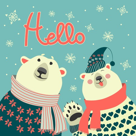 Two friends, polar bears say hello, vector greeting card Illustration