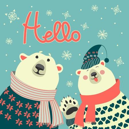 say hello: Two friends, polar bears say hello, vector greeting card Illustration