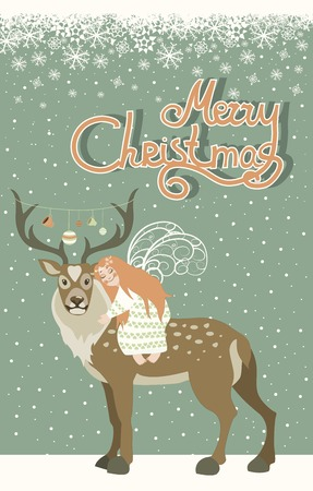 hugs: Cute little angel hugs reindeer.Vector Christmas greeting card.