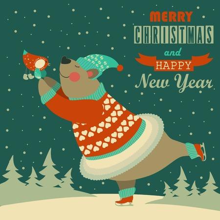 귀여운 곰 아이스 스케이팅과 조류와 춤. 벡터 인사말 카드입니다. 일러스트