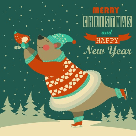 ice skates: Cute bear ice skating and dancing with bird. Vector greeting card. Illustration