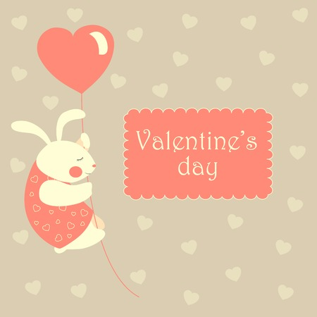 inlove: White valentine rabbit flying on pink heart shaped baloon.Vector greeting card