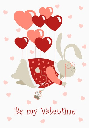 inlove: Cute valentine rabbit flying on pink heart shaped baloons.Vector greeting card