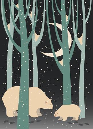 bear cub: Vector polar bear and cub in the forest