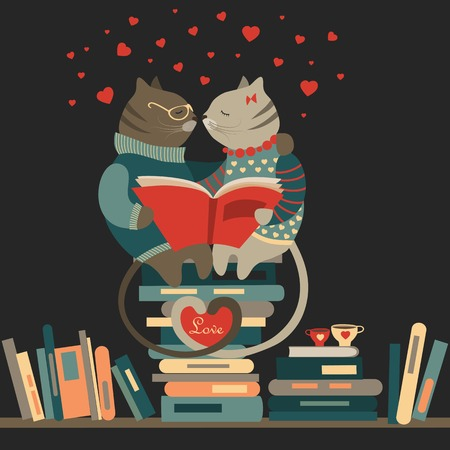 Cute cats in love reading a book. Vector illustration Illustration