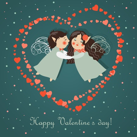 Cute angels embrace. Vector romantic greeting card Vector