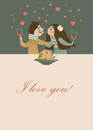 macarrones: Pareja en el amor comer espaguetis. Tarjeta romántica del vector