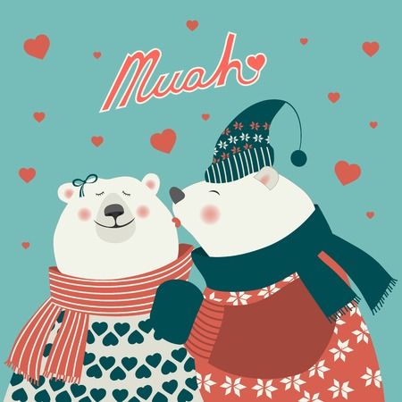 Couple of kissing bears. Vector romantic greeting card