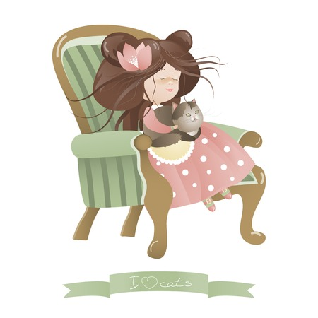 cosiness: Cute girl with cat sitting in chair. Vector illustration
