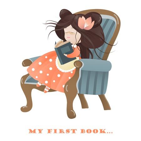 Bambina che legge un libro. Vector illustrazione isolato Archivio Fotografico - 35802499