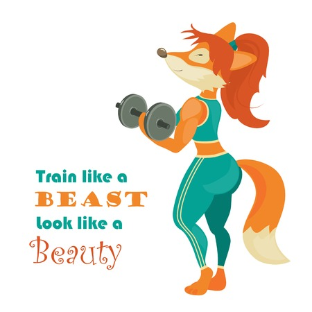 brawn: Beautiful fox athlete with dumbbell. Vector isolated illustration
