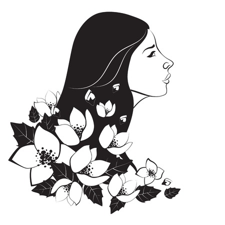 jasmin: Beautiful monochrome woman with flowers.Vector isolated illustration