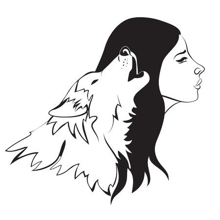 Beautiful woman and wolf. Vector monochrome illustration Illustration