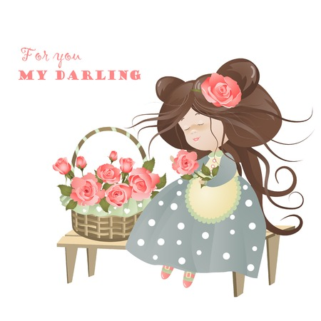 flower baskets: Girl with basket of roses. Vector greeting card