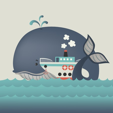 steamship: Whale and steamship in blue sea . Vector illustration