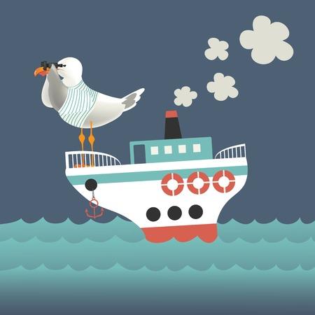 Seagull looking through binoculars on the vessel. Vector illustration Vector
