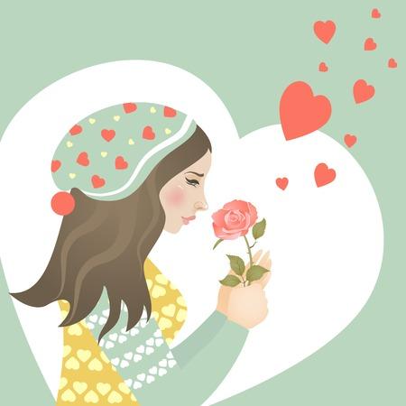 장미와 사랑에 아름 다운 소녀입니다. 벡터 인사말 카드