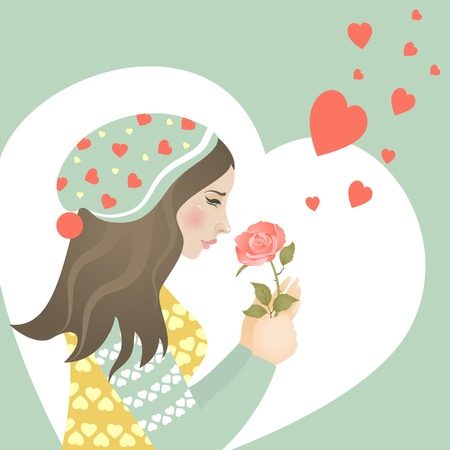 Beautiful girl in love with rose. Vector greeting card