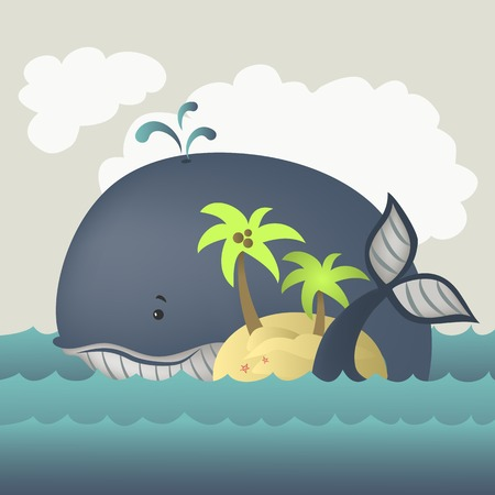 granola: Avistamiento de ballenas y la isla en el mar azul. Ilustración vectorial Vectores