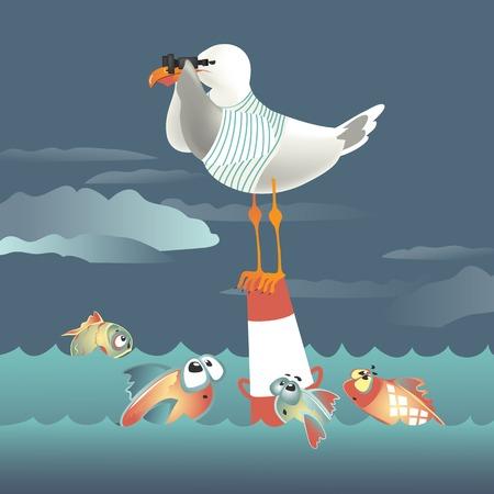Seagull staande op de boei en kijkt door een verrekijker. Vector illustratie Vector Illustratie