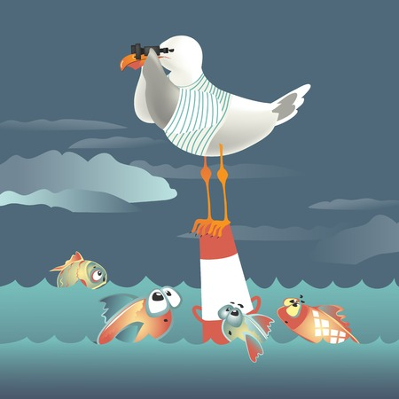 Seagull standing on the buoy and looking through binoculars. Vector illustration