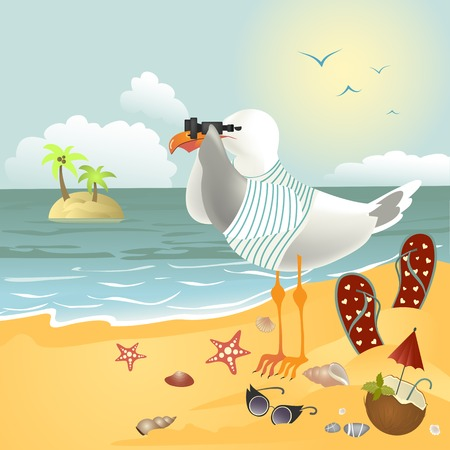 Pebble Beach: Seagull on the beach looking through binoculars. Vector illustration