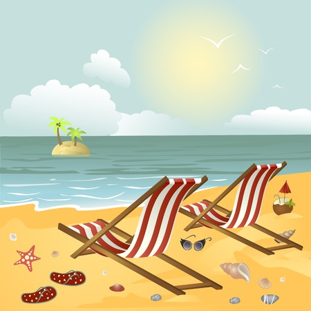 Two chaise longue on the beach.Vector illustration Illustration