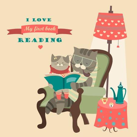 책을 읽고 벡터 고양이와 새끼 고양이 일러스트
