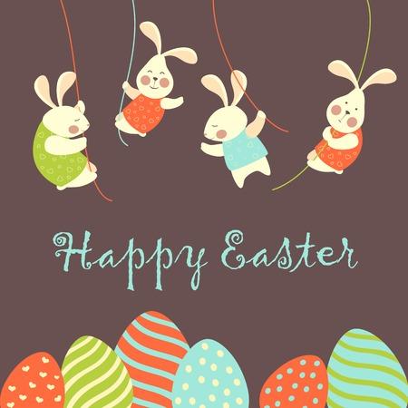 pascuas navide�as: Conejitos de Pascua y huevos de Pascua. Ilustraci�n vectorial