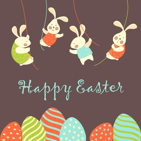 Easter bunnies and easter eggs. Vector illustration Иллюстрация