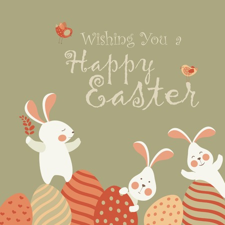 cartoon easter: Easter bunnies and easter eggs. Vector illustration Illustration