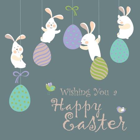 egg cartoon: Conejitos de Pascua y huevos de Pascua Vectores