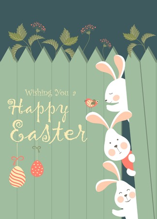 Easter bunnies and easter eggs Stock Illustratie