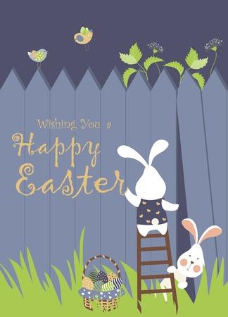 Lapins de Pâques et des oeufs de Pâques Banque d'images - 36762722