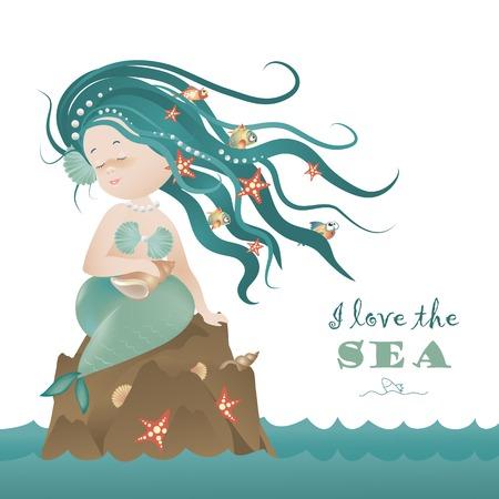 Beautiful mermaid girl sitting on the rock.Vector illustration Stock Illustratie