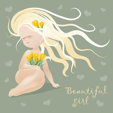 Beautiful girl with spring flowers. Vector illustration Illustration