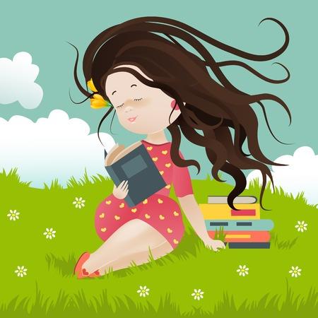 sentarse: Niña sentada en la hierba leyendo un libro. Ilustración vectorial Vectores