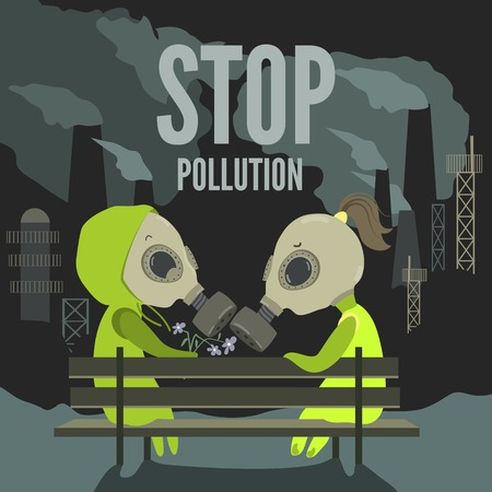 protective gas mask: Illustration of couple in love sitting at bench in dirty environment