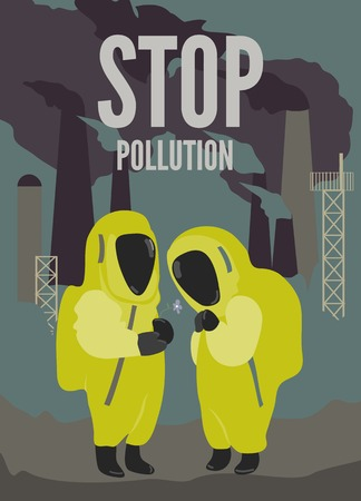 cartoon wind: Illustration of couple in protective suits in dirty environment