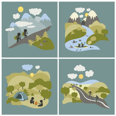 kayak: Set of vector lat style outdoor leisure pictures. Journey by kayak, cycling trip and mountain hiking.