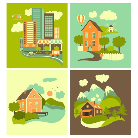 ones: Set of residential buildings. Urban, rural, nearby lake and mountain ones.