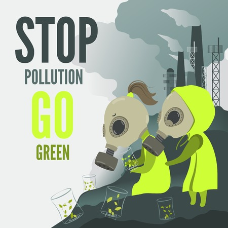 smog: Vector Illustration,couple in chemical protective suits do planting in the dirty environment