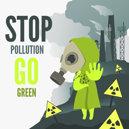 radiation pollution: Vector Illustration, cartoon characcter wearng gas mask demands to stop environmental pollution.