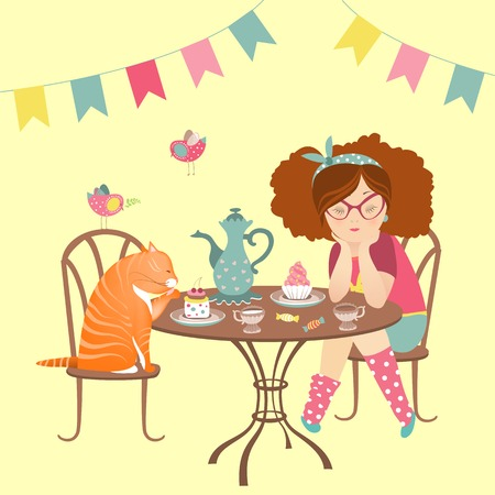 funny cat: Beautiful girl drinking coffee with funny cat. Vector illustration Illustration