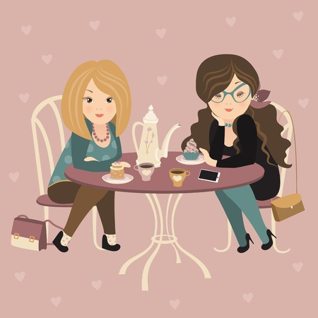 Two fashion girls chatting at a cafe. Vector illustration