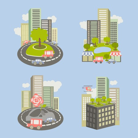 city live: Vector icons about live nature in the city Illustration