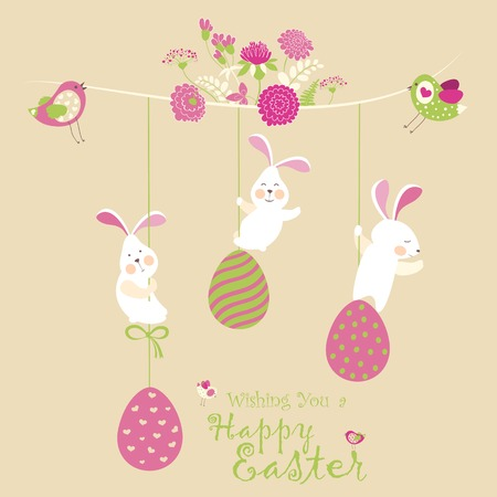Easter bunnies and easter eggs. Vector illustration 矢量图像