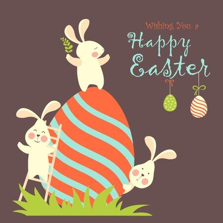 イースターのウサギとイースターエッグ.ベクトル図  イラスト・ベクター素材