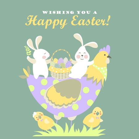 Easter bunnies,chicken and easter eggs. Vector illustration 矢量图像